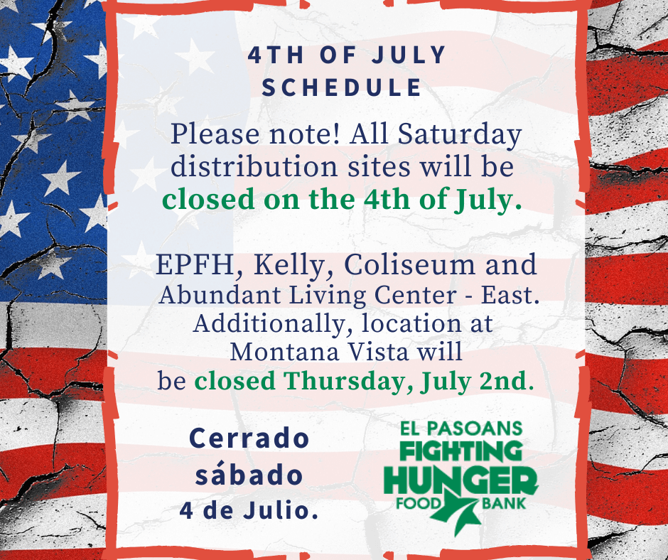 4th of July Distribution Schedule