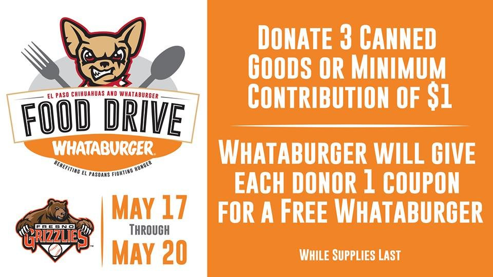 ​Chihuahuas and Whataburger Team Up to Host Food Drive at Southwest University Park!
