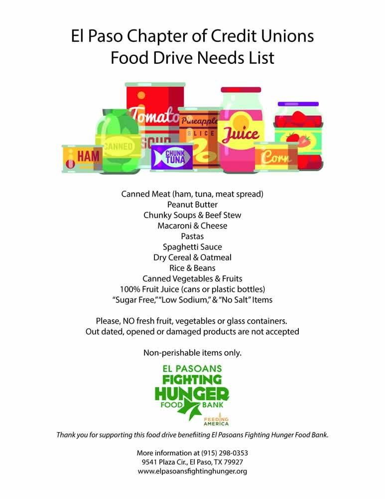 El Paso Chapter of Credit Unions Month Long Food Drive