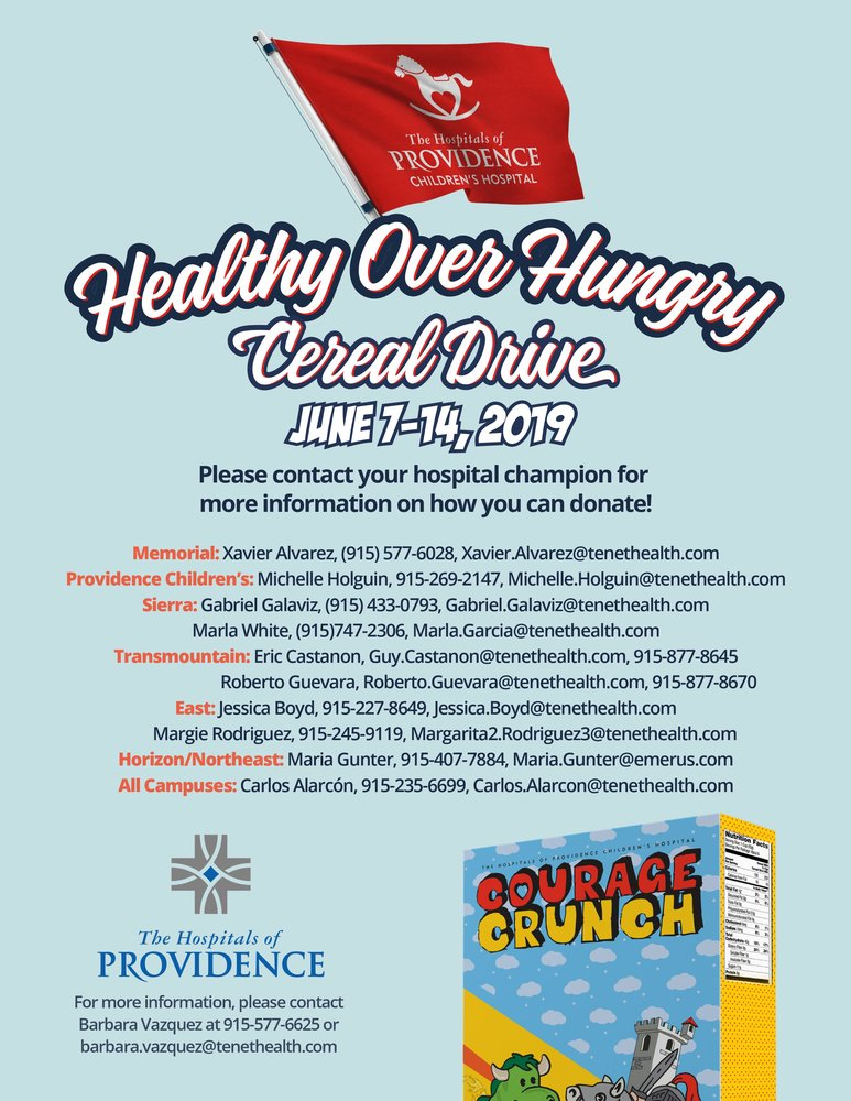 Healthy Over Hungry: The Hospitals of Providence and Tenet Healthcare Cereal Drive